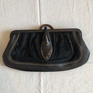 Black calfskin clutch w/ leather closure